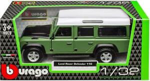 Burago 1/32 Diecast Model Land Rover Defender 110 Green/Black/White #18-43029