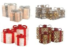 Light Up Christmas Gift Present Boxes - Under Tree Decorations - Set of 3