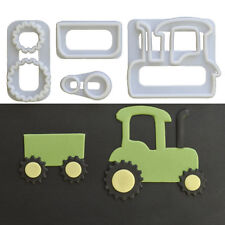 4x Tractor Plastic Fondant Cutter Cake Mold Fondant Cupcake Decorating Tools Kit