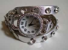 Silver Wrap Around with Bling Sparkly Rhinestones Crystals Fashion Women's Watch
