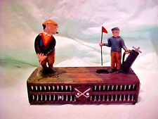 """Cast Iron Mechanical Coin Bank Golfer """"Birdie Putt"""" VintageToy BANK reproduction"""