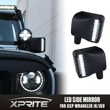 Xprite LED Side Mirror w/White & Amber Turn Signal Light for 07-17 Jeep Wrangler