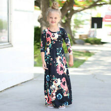 Kids Fashion Girls Long Sleeve Dresses Floral Maxi Dress Outfit Holiday Party