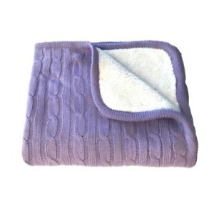 effe bebe Magnolia Cable Knit and Sherpa Baby Blanket (Lavender)