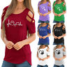 2018 Summer Womens Strappy Cold Shoulder Tops Blouse Ladies Short Sleeve T-Shirt