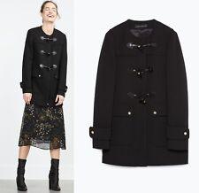 ZARA WOMAN ROUND NECK DUFFLE COAT JACKET CAPE IN BLACK WOOL SIZE SMALL S