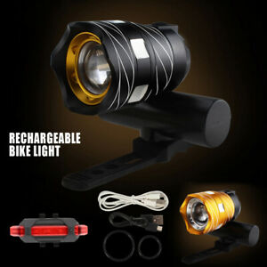 15000LM Bike Front Rear Light USB Rechargable Lamp Flashlight Bicycle LED KC
