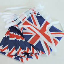 Quality 32 Flags Double Sided Fabric British Union Jack Bunting Flag 8m (26ft)