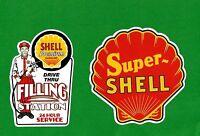2 X SHELL PROMO VINYL STICKER / DECAL OIL GAS PETROL GASOLINE SERVICE GARAGE