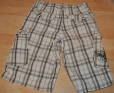 NEW LEE WHITE GRAY PLAID CARGO LONG SHORTS WITH ADJUSTABLE WAIST. SIZE 12.
