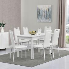 [en.casa]® Esstisch mit 6 Stühlen weiß 140x60cm Küchentisch Stuhl mit Griff