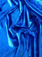 BLUE CRUSHED VELVET FABRIC BY THE METRE