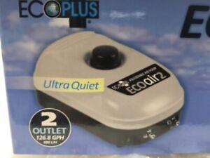EcoPlus Eco Air Pump 2 Adj.Two Outlet ultra quiet - 3 Watt 126.8 GPH- NEW-L👀K