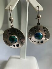Azurite Malachite Made In Mexico Sterling Silver Southwestern Stamped Pattern