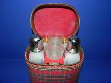 Vintage Plaid Portable Bar, Two Flasks & Four Just A Thimble Full_3979