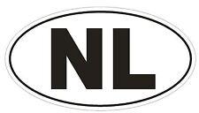 NL Netherlands Country Code Oval Bumper Sticker or Helmet Sticker D899