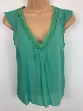 WOMENS GAP GREEN SMART/CASUAL CAP SLEEVED SILK V NECK DETAILED TOP SIZE XS SMALL
