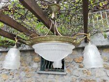 Charles Schneider Lustre Art Deco Bronze Vasque 3 Tulipes Splendide