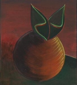 "Dimitris C. Milionis ""APOCRYPHA FRUIT"" Signed Painting on Paper Greek 1997 a"