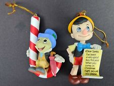 More details for vintage grolier disney christmastree ornament pinocchio 116 & jiminy cricket 114