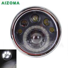 """Motorcycle 7"""" Side-Mount LED Headlight Lamp For Honda CB Classic Racer Bobber"""