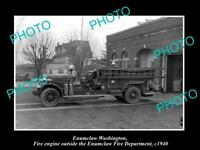OLD LARGE HISTORIC PHOTO OF ENUMCLAW WASHINGTON, THE FIRE DEPARTMENT TRUCK c1940