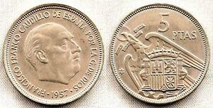 España-Estado Español. 5 Pesetas 1957*66 Madrid. SC/UNC. Niquel 5,7 g.