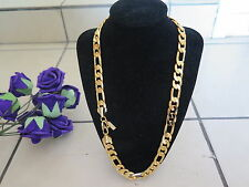 "Lifetime Warranty 24"" 12mm 18ct Gold Plated Chain Necklace Men's Birthday Gift"