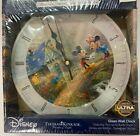 Thomas Kinkade Mickey and Minnie Sweet Heart Bridge Glass Clock Limited Edition