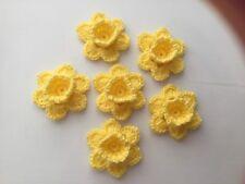 6xNew Crochet Spring Flowers Applique Embellishment -Daffodils Yellow