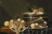 "oil painting ""Still Life with Oysters, Grapes, Lemons, Peaches,Cherries""@N10201"