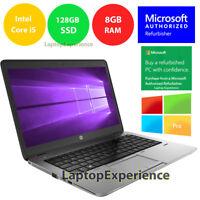 HP LAPTOP 840 G1 ELITEBOOK WINDOWS 10 PRO WIN INTEL i5 WEBCAM WiFi 8GB 128GB SSD