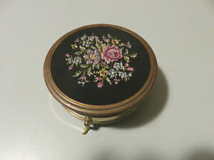 Trinket Box Jewelry Brass & Fabric Vintage With Pedini & Embroidery Floral