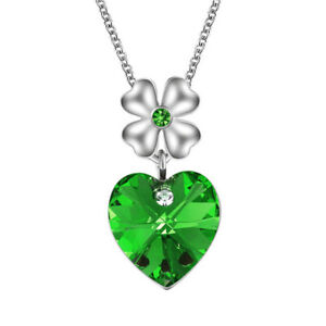 Women'S Silver Heart Charm Green Crystal Cubic Zirconia Pendant Necklace Jewelry
