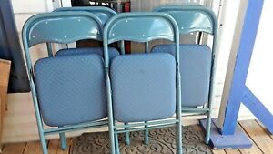 (4) BLUE FOLDING CHAIRS W/ CUSHION SEATS