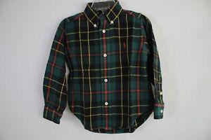 RALPH LAUREN Boy's Long Sleeve Button Down Flannel Shirt size 2/2T