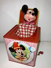 New listing rare mint antique 1950 mattel mickey mouse tin jack box toy early