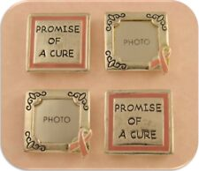 "2 Hole Beads Pink Ribbon Photo Frames & ""Promise of a Cure"" Breast Cancer QTY 4"