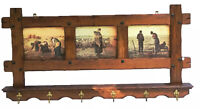 French Country Oak Carved Hanging Rack 6 Brass Hooks Rustic Farm House L 49 in.