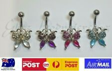 Butterfly Belly Bar Non Dangle 14g 316L Surgical Steel Star Navel Bar Ring
