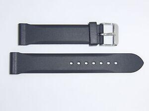 Bonetto Cinturini (Italy) Rubber Watch Band Strap 20 mm , Black, Model 306