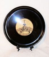 vtg COUROC of Monterey CA black inlaid plastic plate Tyler Davidson Fountain euc