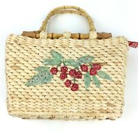 Cappelli Straw Weave Handle Purse Cherry Motif with Round Tiki Wooden Handles