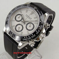 39mm PARNIS white dial sapphire glass rubber full Chronograph quartz mens watch