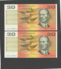 AUTRALIAN$20 Pair Fraser/Cole Consecutive Serial numbers UNC RRJ298392 RRJ298393