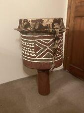More details for stunning antique large tribal floor standing drum