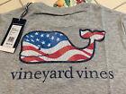 NWT Boy's MEDIUM (12-14) Vineyard Vines Waving USA Flag Patriotic Whale T-Shirt