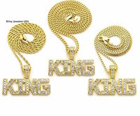 NEW ICED OUT KING  PENDANT CUBAN , BOX ,ROPE CHAIN NECKLACE SET HIP HOP