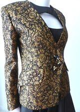 BALMAIN Size 36 AU 8 US 4 Gold / Black Wool Jacket Rare Vintage Made in France