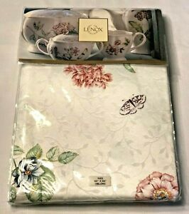 """NEW Lenox Butterfly Meadow Tablecloth 60""""x 84"""" Oblong White background Floral"""